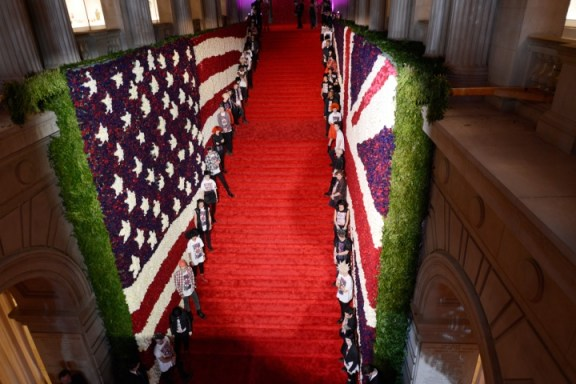 The grand staircase at the Met Museum for Met Gala 2013