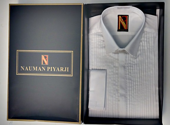 Nauman Piyarji Pure Cotton Hand Pleated Frech Cuff Tuxedo Shirt
