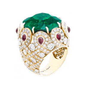 Pongal ring with 27.81 carat Colombian emerald with rubies and diamonds. What can I say... I love a statement ring and this one left me speechless!