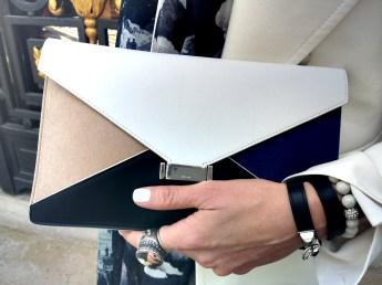 Celine Clutch, Bochic Chunky Cameo Ring, Hermes Bracelet, Space 519 Beaded Bracelet