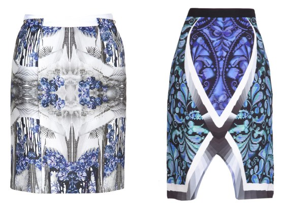 Prabal Gurung (left) and Peter Pilotto (right) skirts