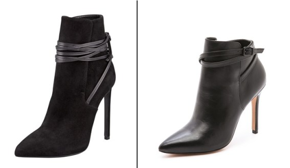 Left: Saint Laurent Paris Bootie, $1025 | Right: Pour La Victoire Cadence Bootie, $352