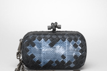 bottega veneta snake blue knot clutch