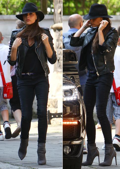 Victoria Beckham in Saint Laurent Paris Bootie in Grey