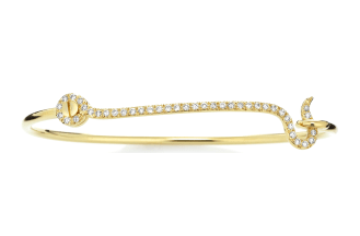 18K Gold & Diamond Thin Hook Bracelet