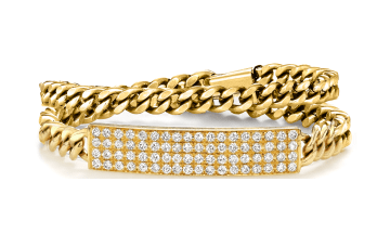 14K Yellow Diamond Double Wrap ID Bracelet