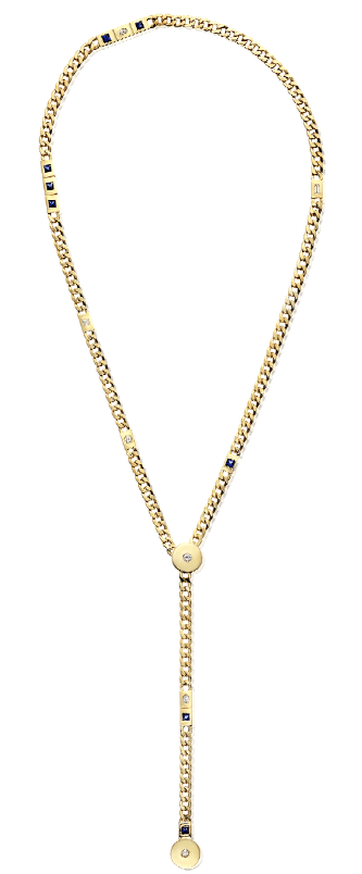14K Yellow Gold Slide Diamond and Sapphire Necklace