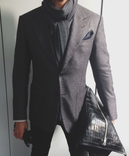 Tom Ford Blazer, Ascot Chang Shirt, Loro Piana Scarf, Hermes Gloves