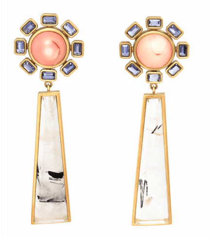 1. Kelly Wearstler Rosella Earring with Gold, Coral and Rutilated Quartz