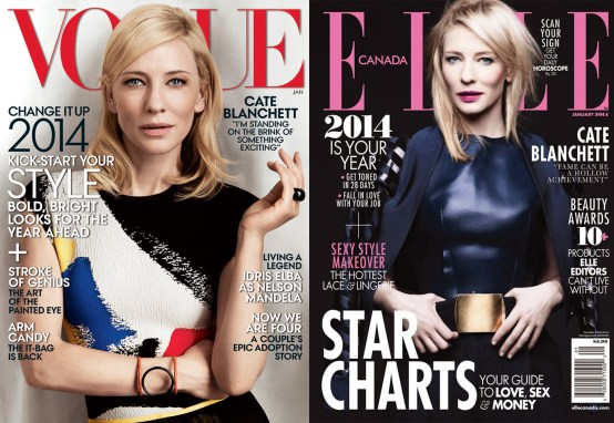 Cate Blanchett's Vogue and ELLE Canada January 2014 Covers