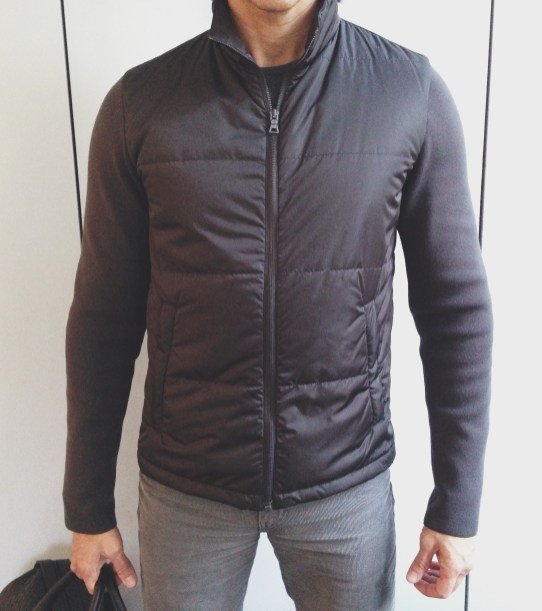 Prada Puffer Jacket w/ Knit Sleeves