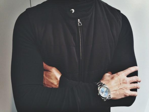 Hermès Vest, American Apparel Long Sleeve Knit, Rolex Oyster Perpetual Date Watch