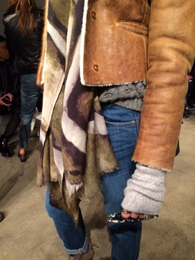 Prada Beaded Shearling Jacket, Belstaff Grey Sweater, J Crew Jeans