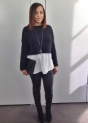 Zara Cropped Sweater, Helmut Lang Leggings, H&M Blouse