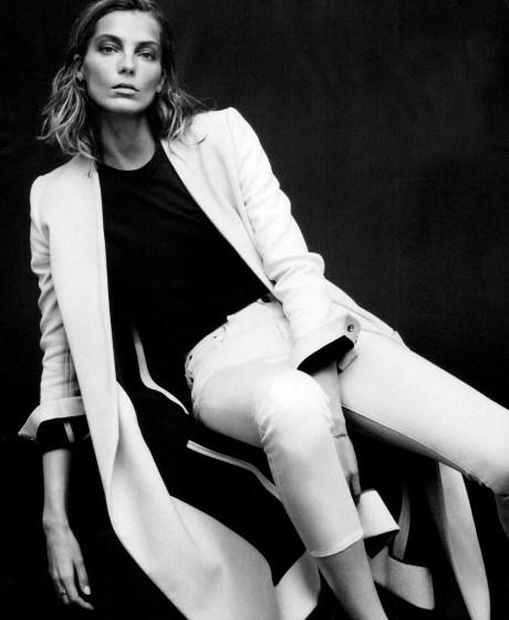 Daria Werbowy in Harper's Bazaar February 2014 (Coat and jeans, Proenza Schouler, Alexander Wang Shirt). Photo by Daniel Jackson