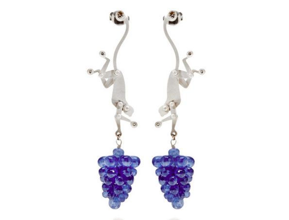 Marc Alary Monkey Earrings with Raw Sapphires