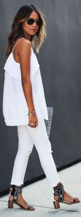 White jeans and top sincerely jules street style