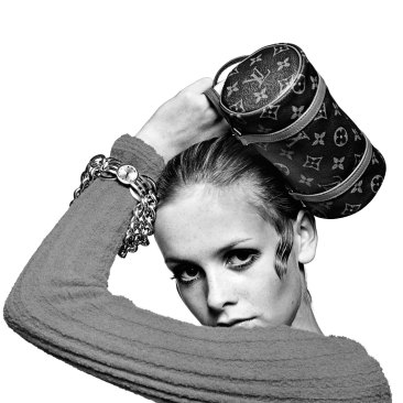 Model Twiggy with Louis Vuitton Baguette
