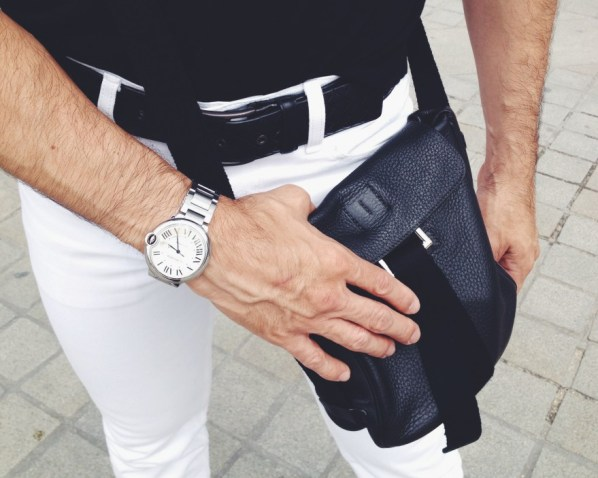 Levi's Jeans, Hermes Crossbody, Cartier Watch, Bottega Belt