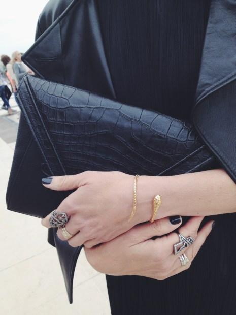 Bochic Conquistador Rings, Daphne Dasque Cobra Bracelet, LRVT V Clutch