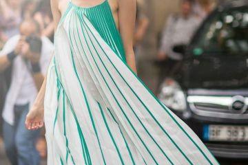 Elena Perminova Long Pleated Dress
