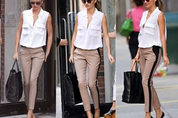 Miranda Kerr Stripe PantS white blouse