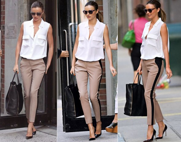 Miranda Kerr Stripe PantS white blouse