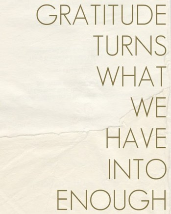gratitude is what turns what we have into enough