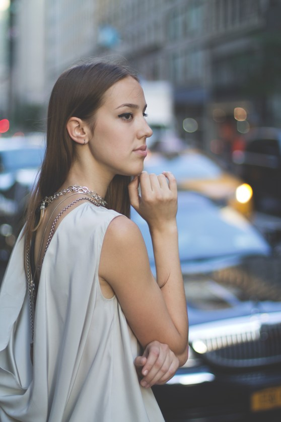 Sarah Hoopes Dress, LRVT Clutch & Jewelry