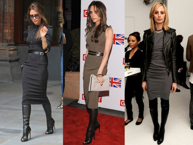 Victoria Beckham over the knee boots pencil dress copy