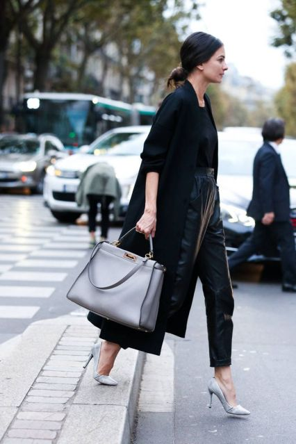 Leather Pants street style with neutrals | Image via Elle.com