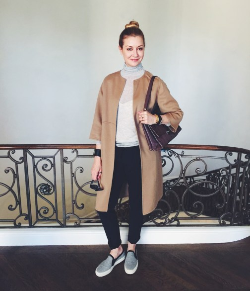 Lisa Marie McComb in YSL Cashmere Coat