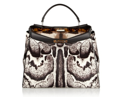 Fendi Peekaboo Large Calf Hair Satchel Bag