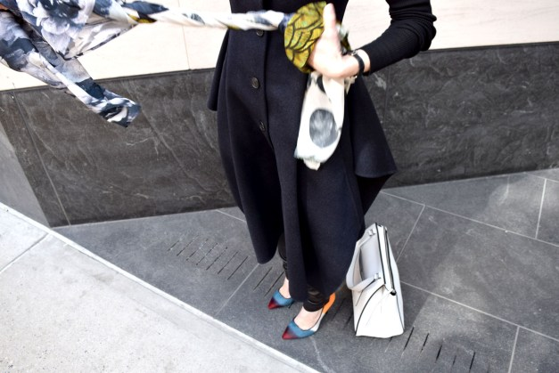Melinda Knight Style | Dior Coat, Vince Leather Pants, Pierry Hardy Pumps, Celine Tote  - Visual Therapy Blog