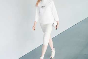Celine Fall 2015 Look Lisa Marie McCom in Apiece Apart, Zara Leather skirt and Maiyet Sandals
