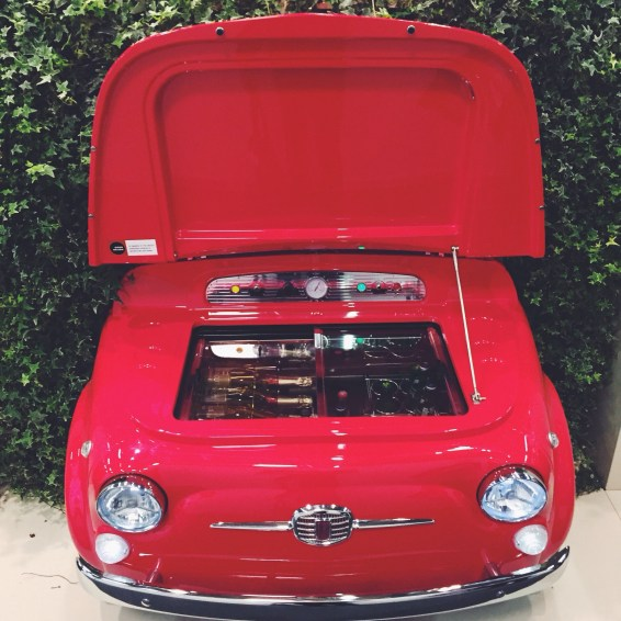 The true to scale Fiat 500 wine cooler by fiat and Smeg US- perfect for His Patio