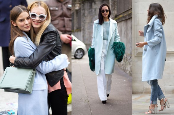 pastel blue coat street style