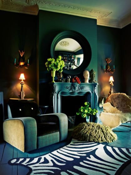 Loving the use of multiple tones of green in the bohemian study.