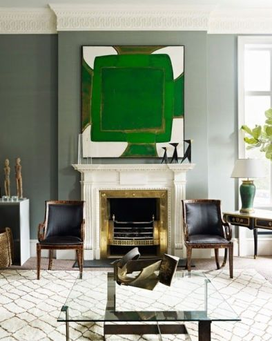 A fabulous piece of contemporary art is sometimes all that is needed in a classic room.