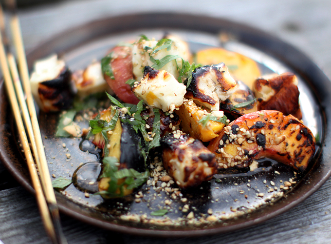 Grilled Halloumi and Peaches with Dukkah