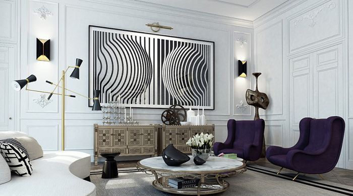 I love the dark purple chairs in this bold black and white room.