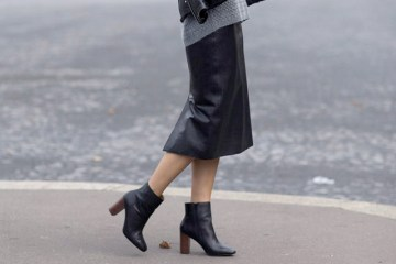 Block-Heels- street style leather skirt