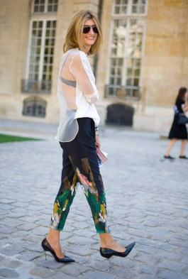 Sarah-Rutson-wore-skinny-painterly-trousers-sheer-blouse