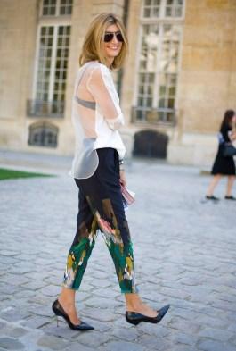 Sarah-Rutson-wore-skinny-painterly-trousers-sheer-blouse
