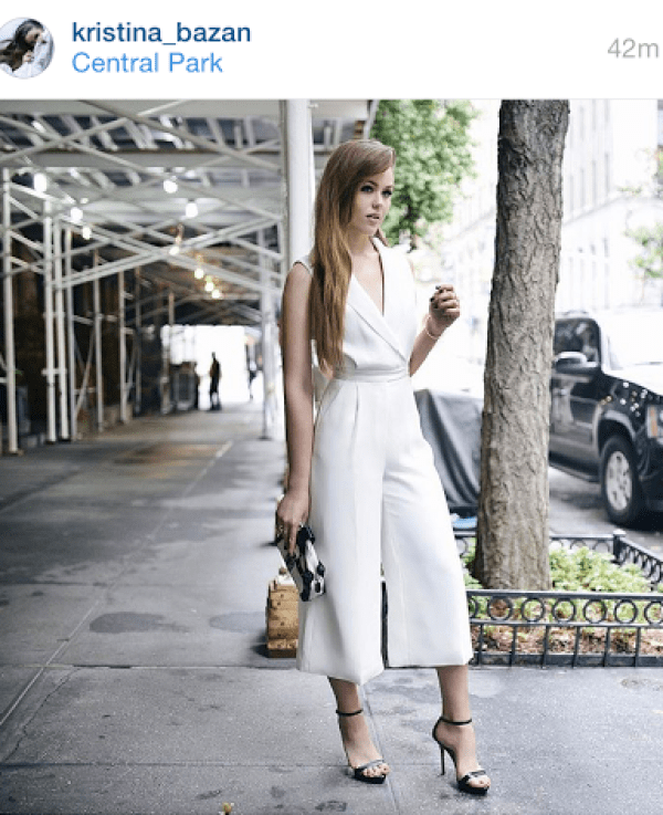 Kristina Bazan Culottes Street Style nYFW