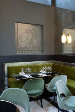 Sophisticated Color Inspiration - seafoam chairs pair back to this incredible green banquette with an earthy warm neutral wall.