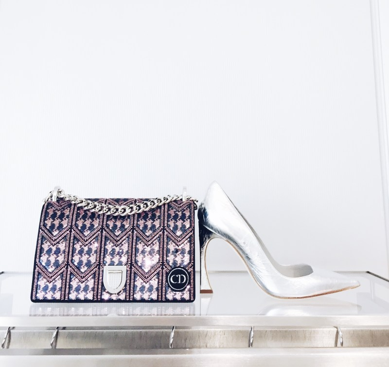 Dior Boutique Spring 2016 Collection Pastels Metallic Pump and Bag