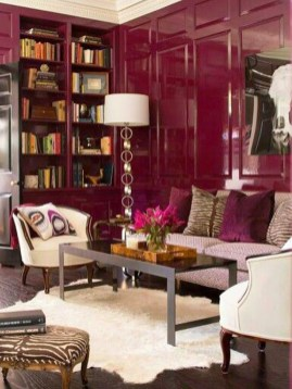 Note the lacquered raspberry colored walls.
