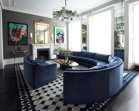 An elegant arc deco inspired design allow this rug to make the biggest statement in this room.