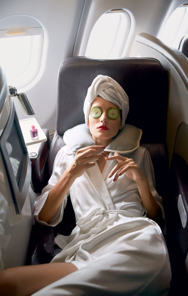 sleeping on the plane fashion blogger vogue